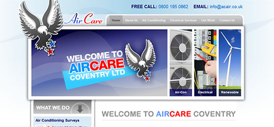 Aircare Coventry website by Cirrus Nova